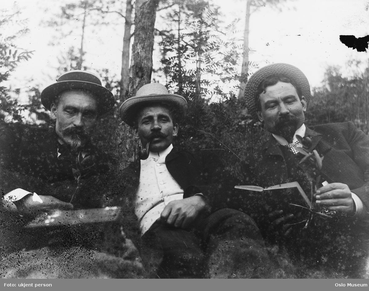 menn, bok, pipe, skog