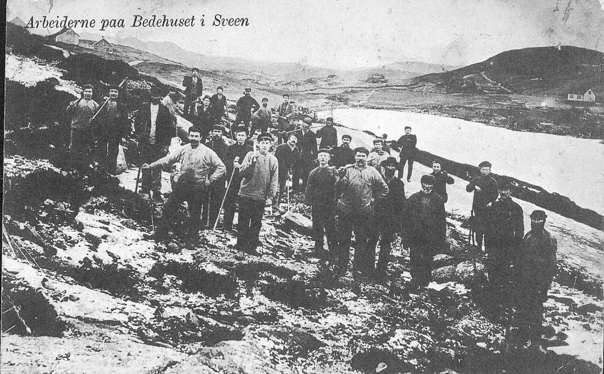 Byggearbeid - landskap - gårdshus - postkort