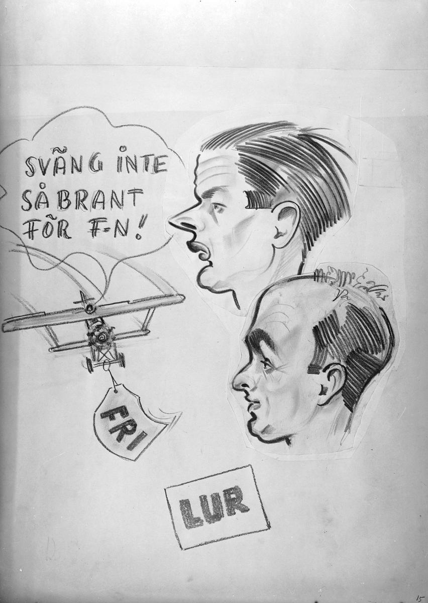 Karikatyrbild av militärer ur flygvapnet, 1930-tal.  Märkt 'FRI', 'LUR'.   Avfotograferad teckning.