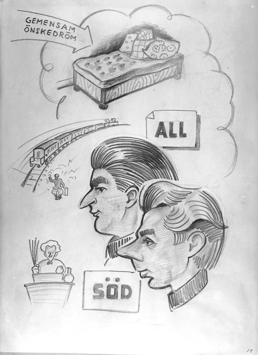 """Karikatyrbild av militärer ur flygvapnet, 1930-tal.  Märkt 'ALL', """"SÖD'.   Avfotograferad teckning."""