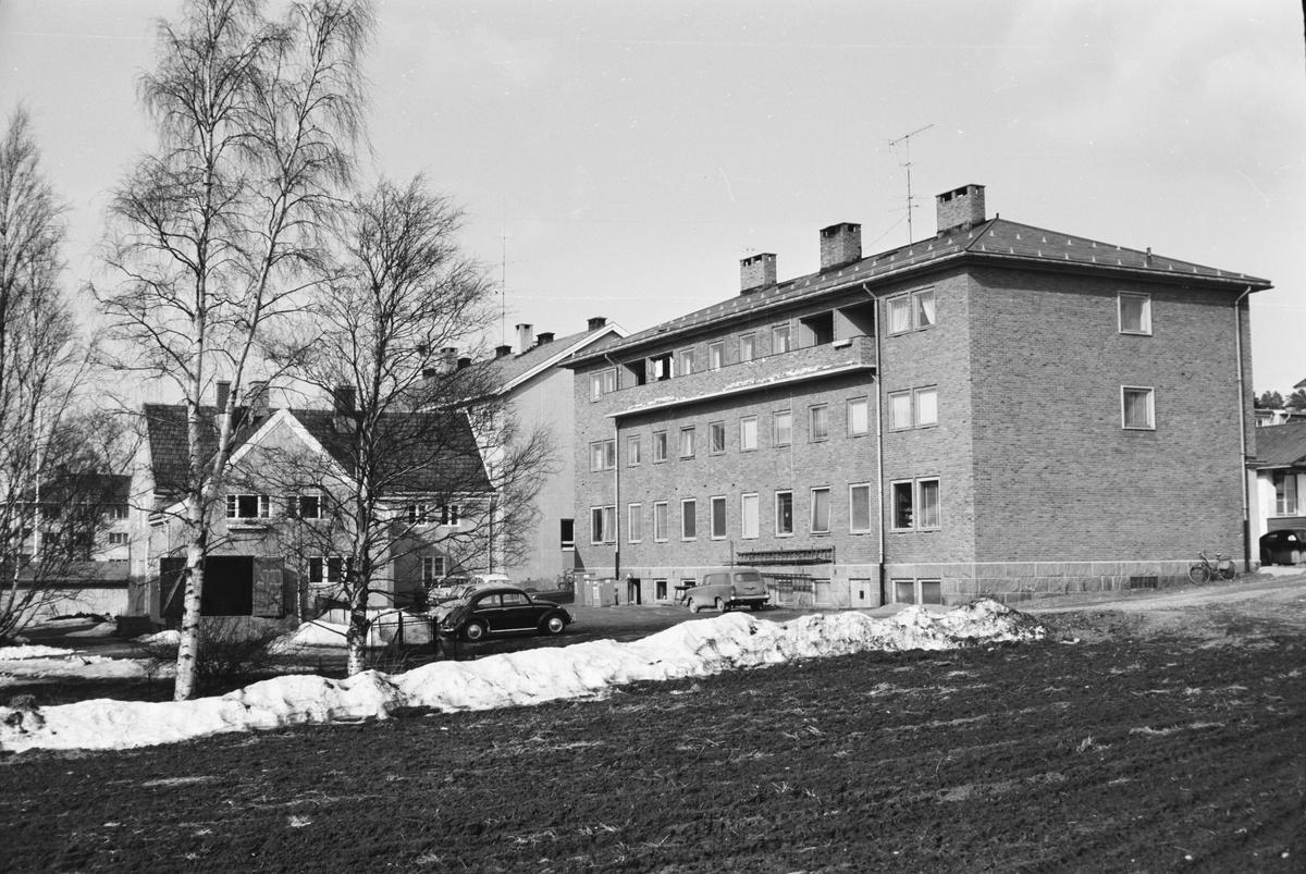 Til høyre: Ekren, med Rein bakenfor. Til venstre: Garasjebygg for Ekren.  Fotograf Mühlbradt hadde atelier i 2. etasje. Leiret, Elverum.