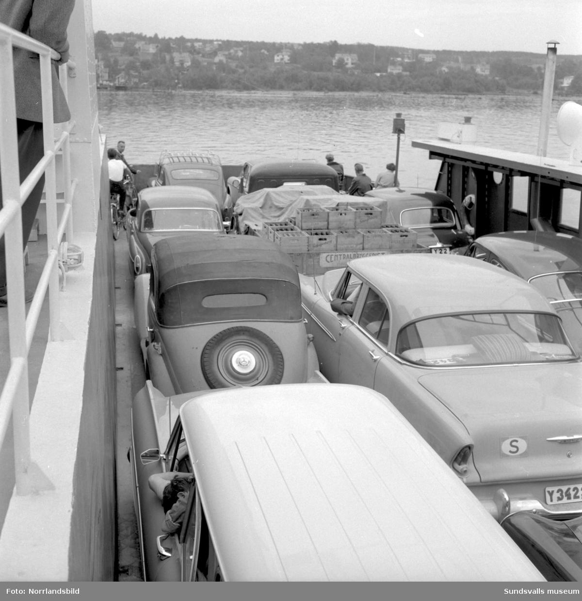 Nya Alnöfärjan är packad med bilar.