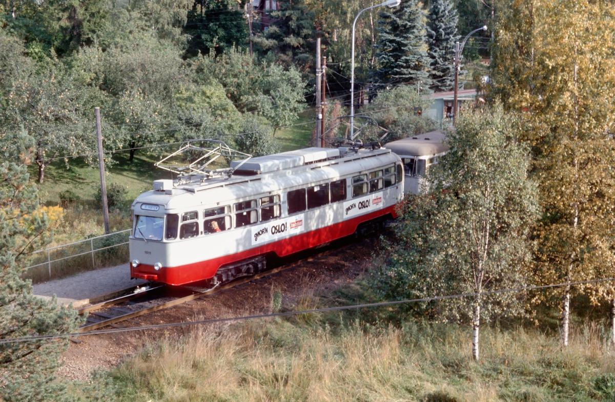 Ekebergbanen, Oslo Sporveier. Vogn 1011 i vendesløyfe på Ljabru.