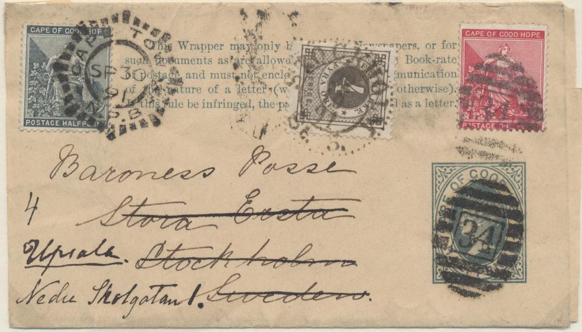 Brev med påklistrad trycksaksbanderoll frankerat med ett 4 öre ringtyp. Det är skickat från Kapstaden till Stockholm 30/9 1891. Därifrån eftersänt till Uppsala 22/10 1891.