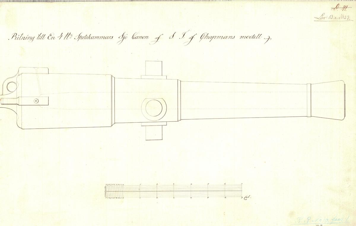 Ritning till en 4 pundig spetskammars sjökanon av F.H. af Chapmans modell