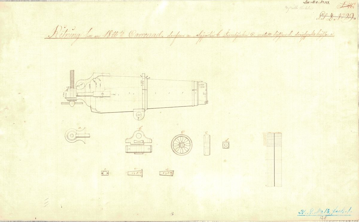 Ritning till de av Kongl Svenska flottans bruklige, förbättrade 24 pundiga karronaderna. Byggritning