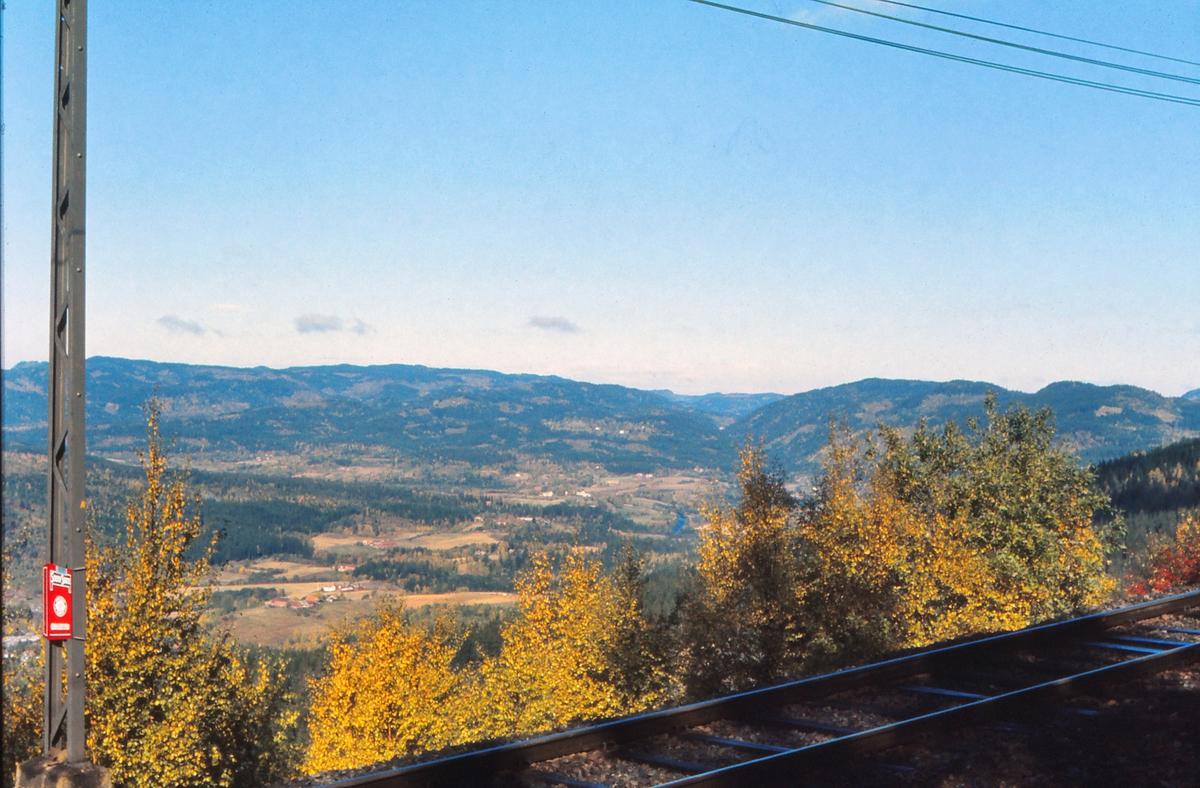 Utsikt mot Sørkedalen sett fra Holmenkollbanen / Tryvannsbanen ved Skogen stasjon.