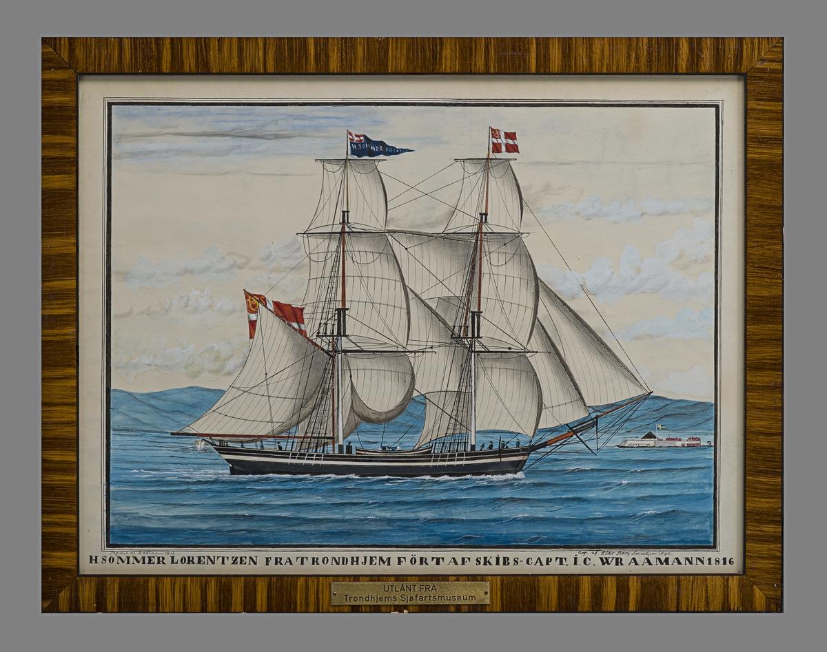 Briggen H. Sommer Lorentzen på fjorden med fulle seil.