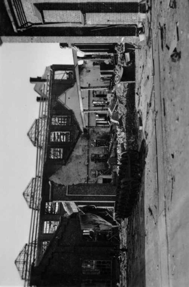 Tomta NSB verksted  i Narvik, Ofotbanen, krigsskadet 1940.