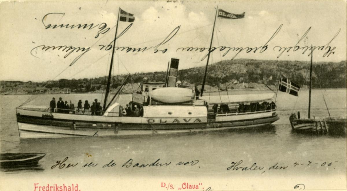Postkort av D/S Olava (Ex. Byelfven, Wittus, Sylfid, Löfsta, Oldevig, Särö)(b.1864, Göteborgs mek. Verkstad)