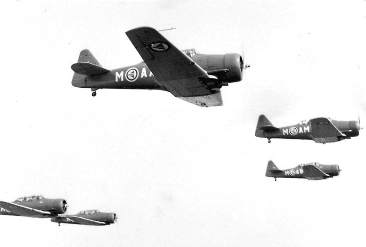 Luftfoto. Fem fly i formasjon. Harvard IIB