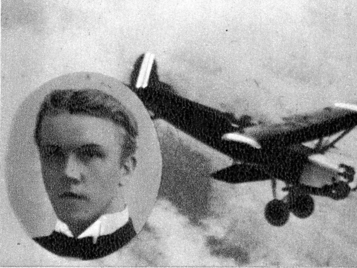 Portrett. En person, mann (innfelt). Ett fly i luften.