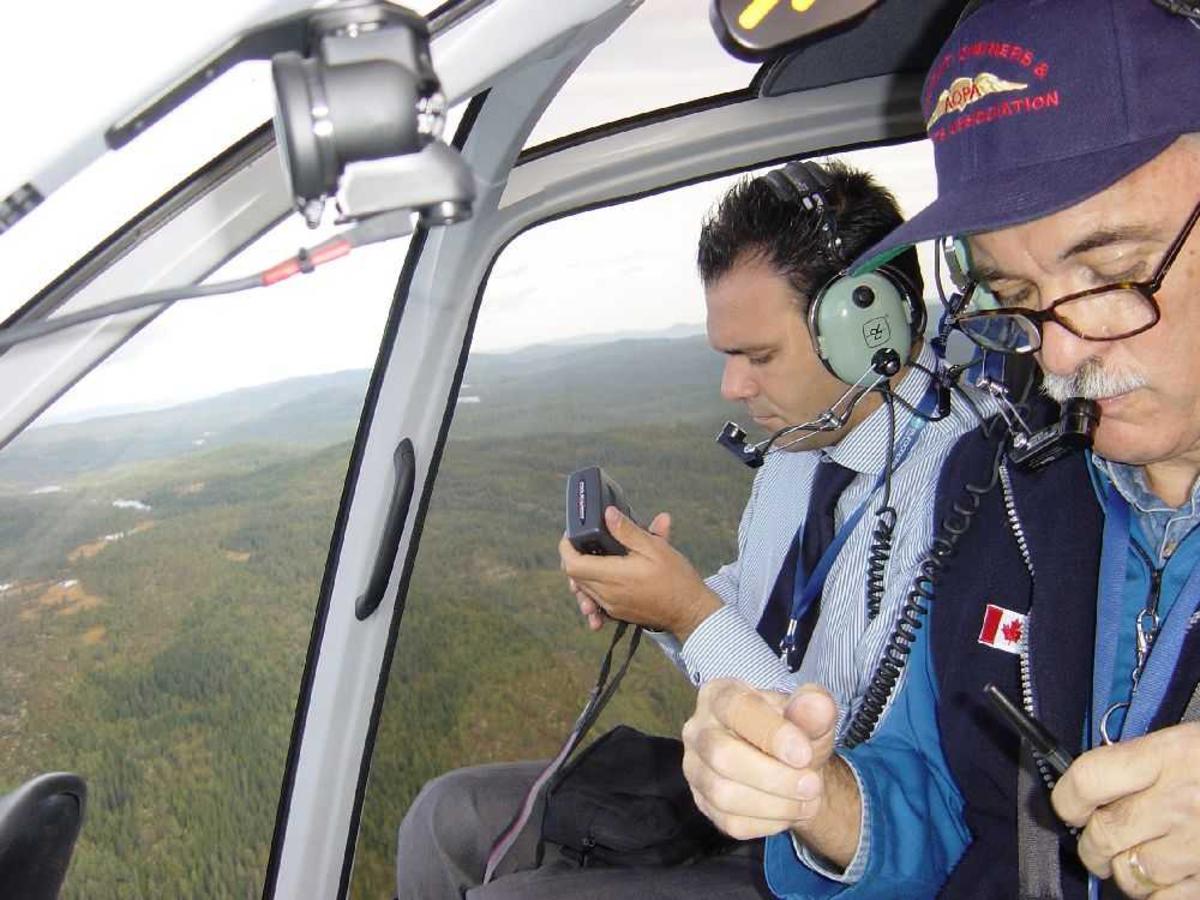 To personer, flygere (piloter) inne i helikopter cockpit.