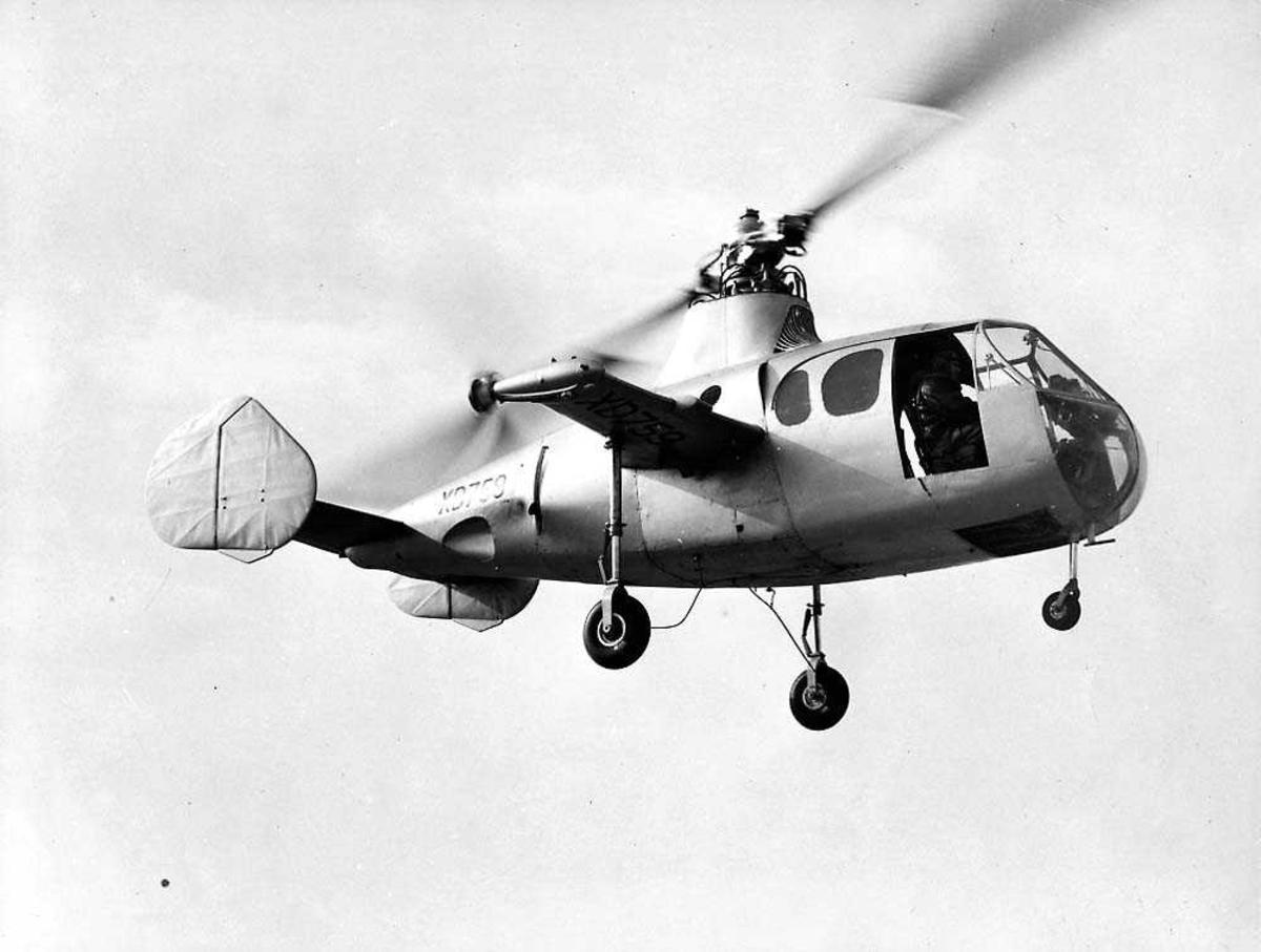 Luftfoto. Ett helikopter i luften, Fairey Jet Gyrodyne.