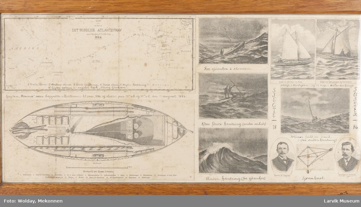 """Tegninger fra Magnus Andersens reise med sjekten """"Ocean"""", 1886, iver Atlanterhavet"""