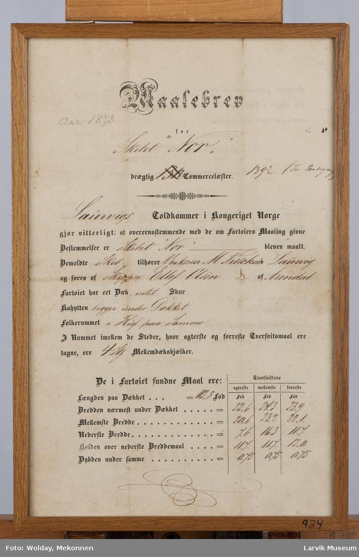 """Målebrev for skibet """"Nor"""" av Larvik, 1873."""