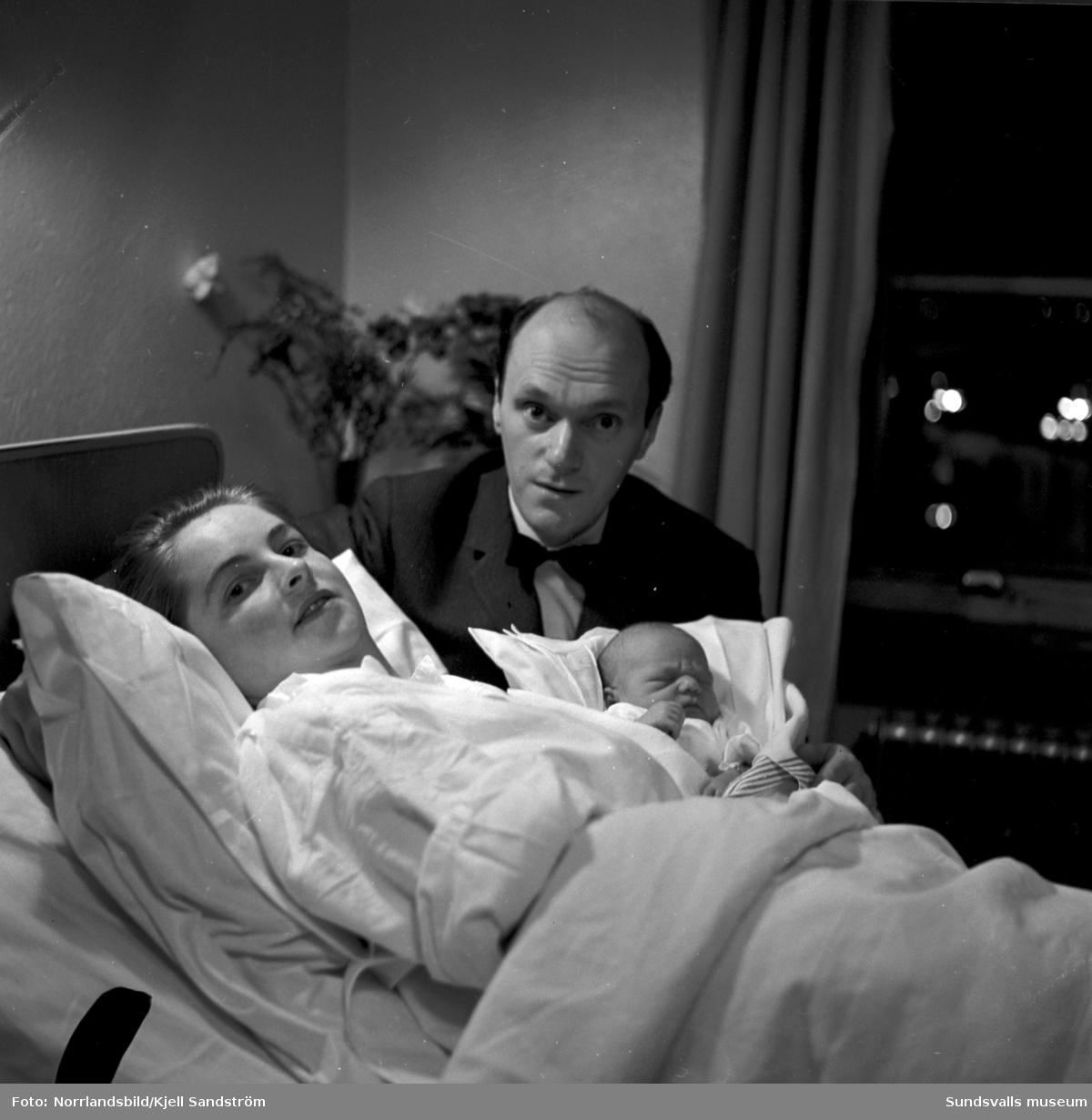 Sundsvalls lasarett, BB-avdelningen. Sista barnet 1959 och första barnet 1960.