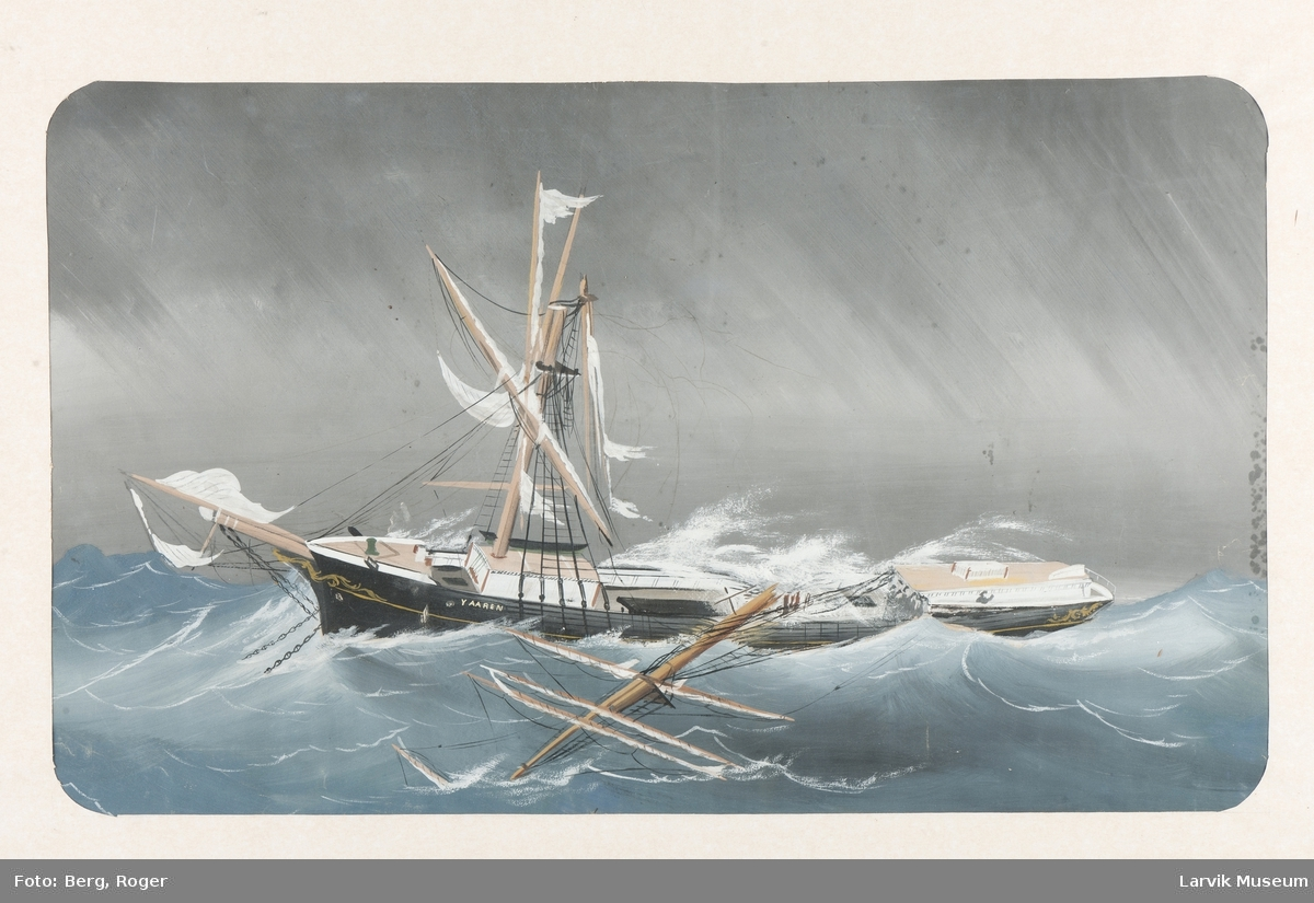 Yaaren i uvær i åpen sjø med brukket mast