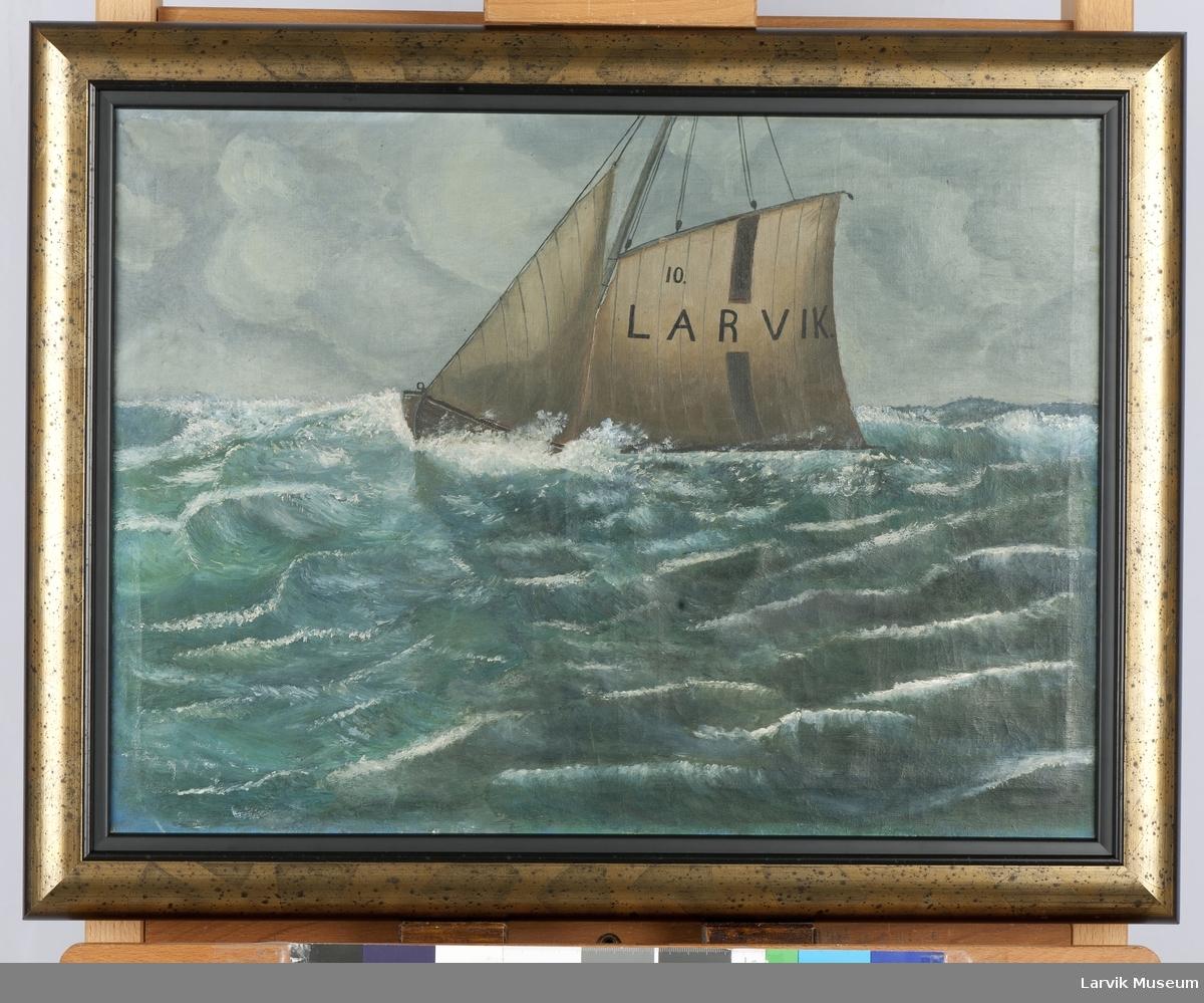 Redningsskøyte Larvik 10 i åpen, høy sjø