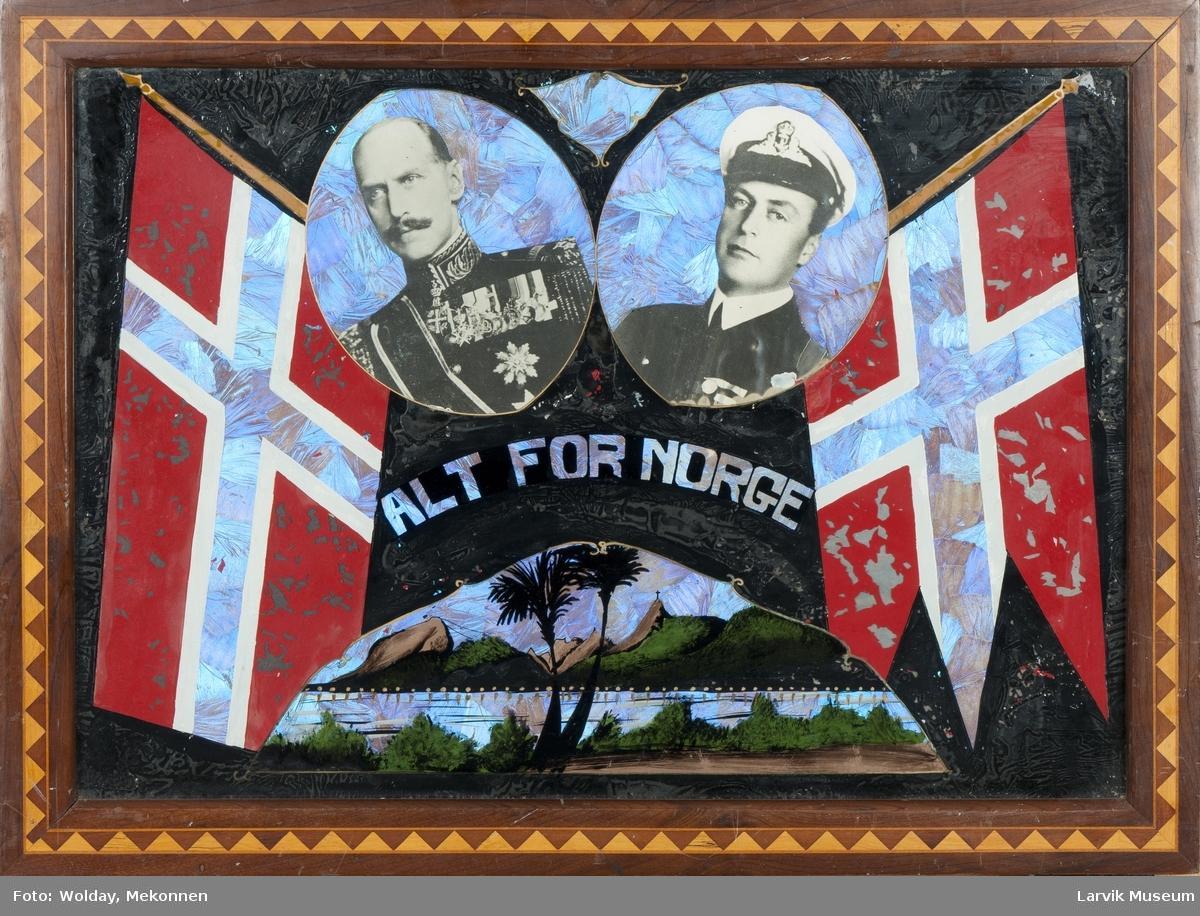 Motiv fra Rio, 2 norske flagg og bilder av Kong Haakon og Kronprins Olav. Svart bakgrunn