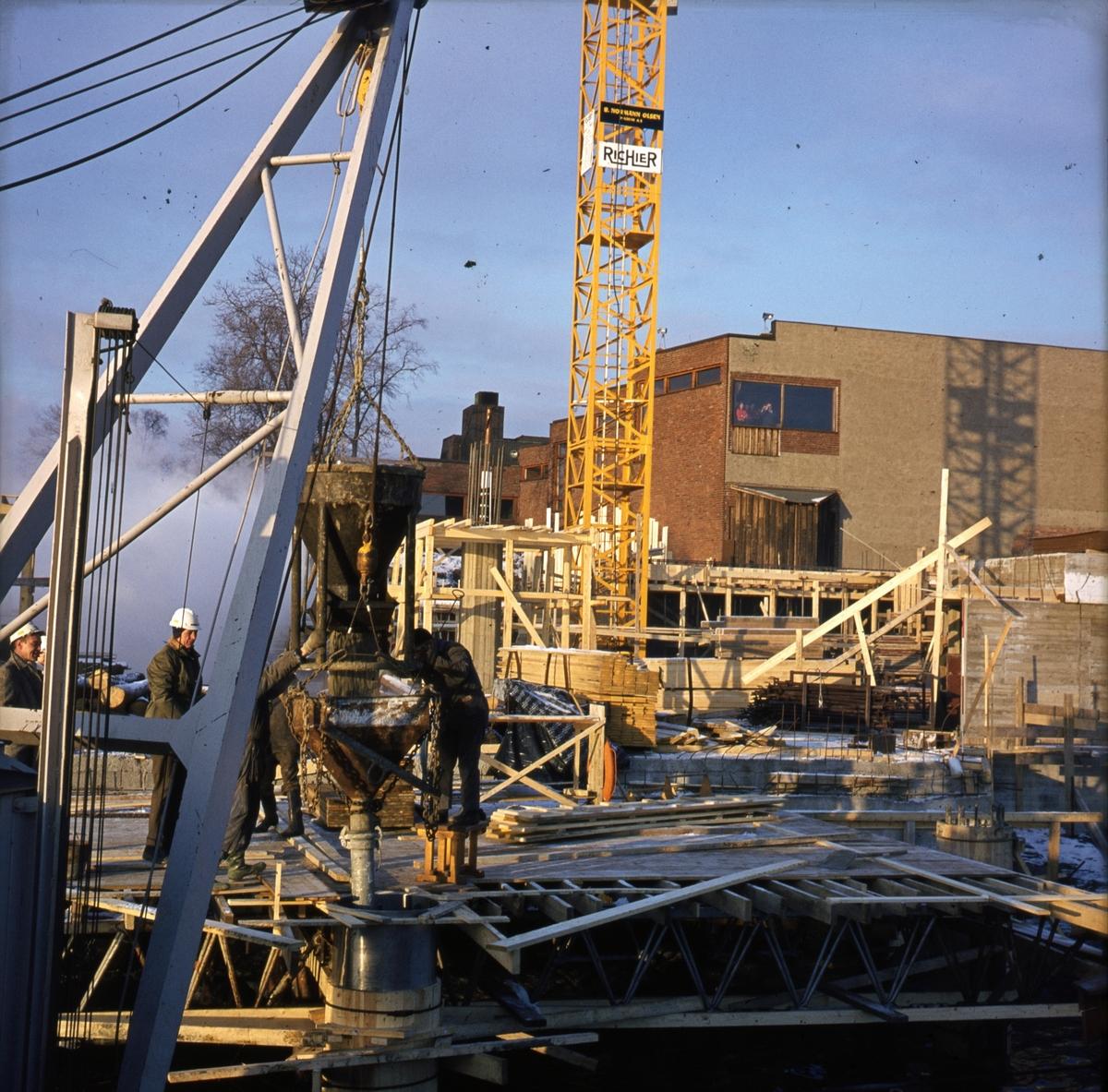 Fundamentet støpes - Norsk Sjøfartsmuseum byggetrinn 3.