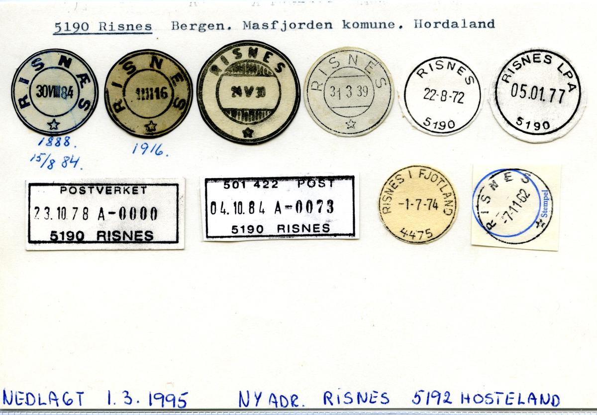 Stempelkatalog 5190 Risnes (Risnæs), Bergen, Masfjordfjorden, Hodaland