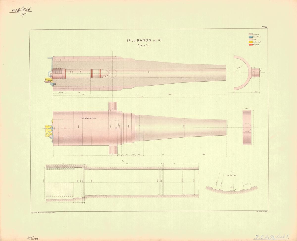 24 cm kanon m/76. Utgiven av Marinförvaltningen 1886
