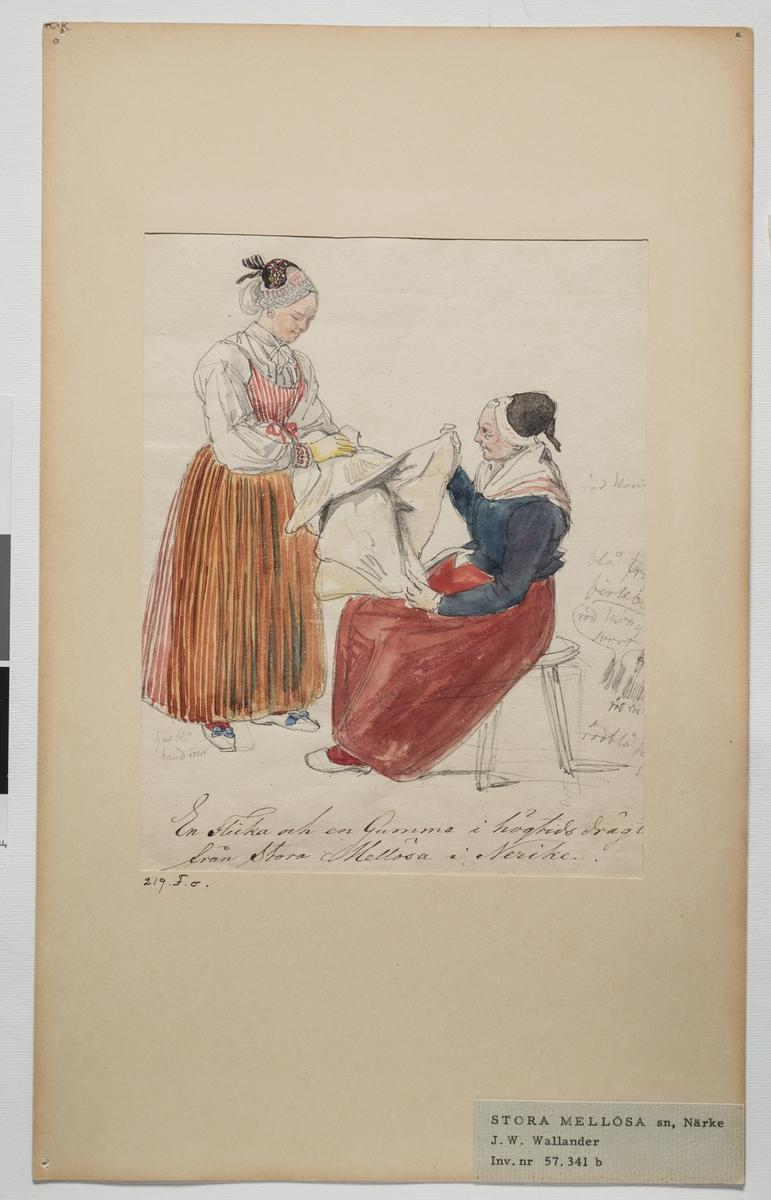 Akvarellerad teckning av en flicka och en gumma i högtidsdräkt, från Stora Mellösa, Närke. Inv. nr: 57. 341b.