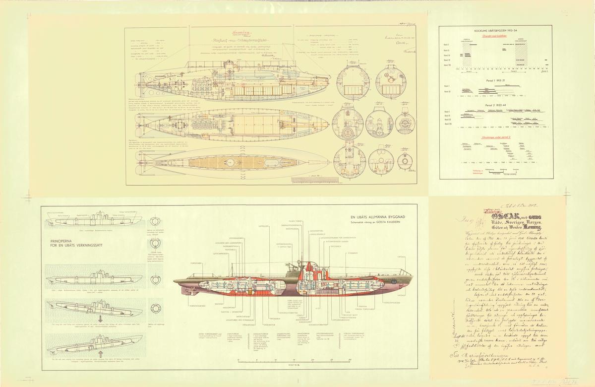 2 ritningar på förslag till undervattensbåt (Nr 1).