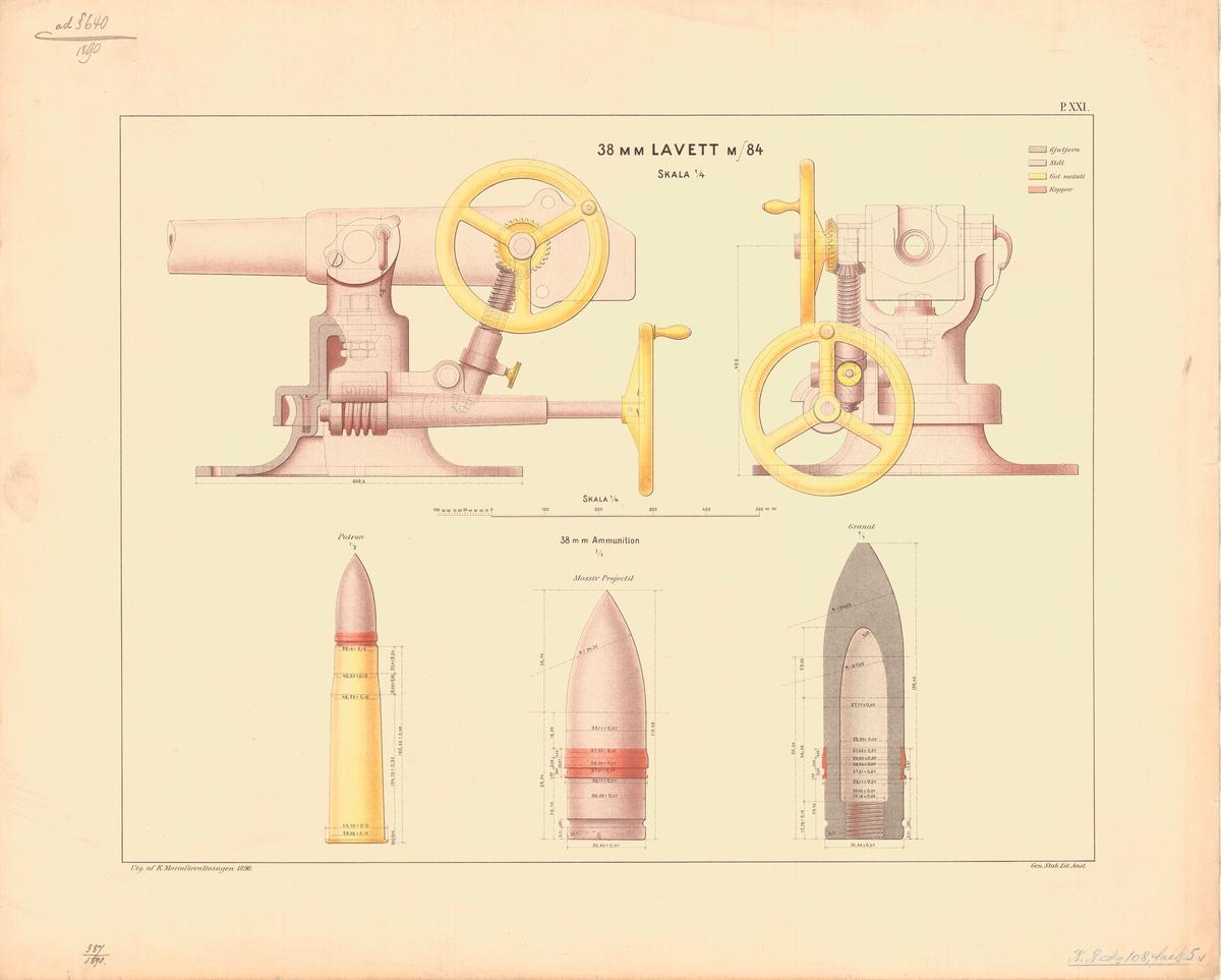 38 mm lavett m/84. Utgiven av Marinförvaltningen 1890