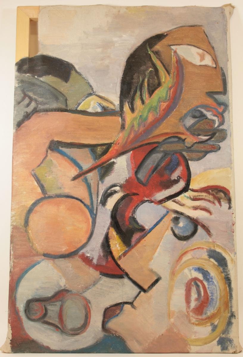 Motivet er abstrakt, men antyder tre figurer i stilisert profil. Den første er plassert helt til høyre, nederst i motivet, den andre har brunt ansikt og er plassert øverst til høyre. Den siste er antydet i bakgrunnen helt til venstre.