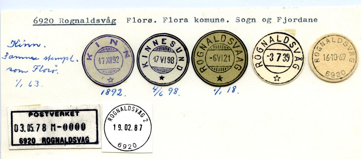 Stempelkatalog 6920 Rognaldsvåg (Kinn, Kinnesund, Rognaldsvaag), Flørø, Flora, Sogn og Fjordane