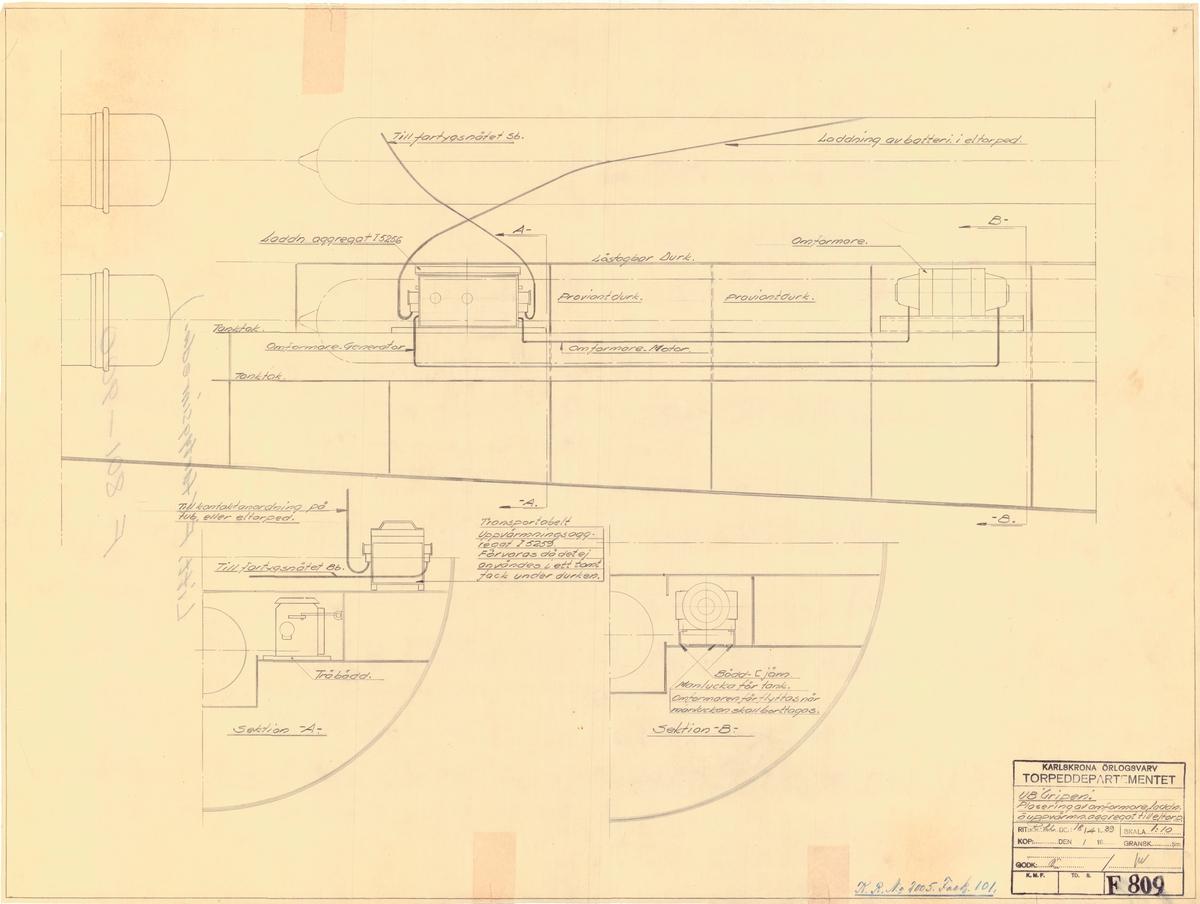 Detaljritning å placering av omformare, laddnings och uppvärmningaggregat till elektriska torpeder