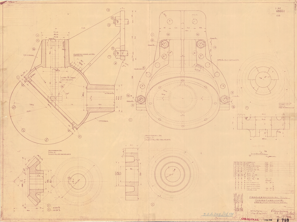 Manöveranordning till torpedtubsluckor, växelhus och kugghjul