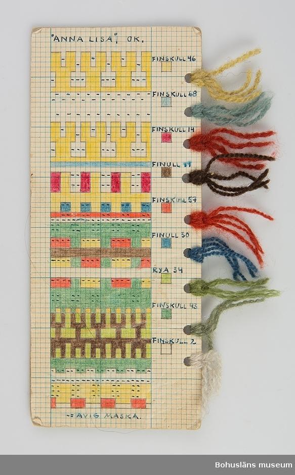 """Avlång handtillverkad mönsterritning för ok i mönstret Anna Lisa av Anna-Lisa Mannheimer Lunn från Bohus Stickning. Mönstret är uppritat i bläck och färglagd med pastell- eller vaxkrita på blårutat millimeterpapper, uppklistrat på linneväv och därefter pappkartong. Utmed högersidan hål gjorda med hålslag med mönstrets olika garner fästade med uppgift om kvalitet/sort och färgnummer. Stämplat BOHUS STICKNING på baksidan.  Mönstret ingår i en gåva efter Karin Forsberg på Bohus Malmön. Hon var ombud för Bohus stickning på Bohus Malmön under många år och är en av dem som undertecknat det tackbrev som publiceras på s. 84 i nytrycket av Ulla Häglunds bok Bohus stickning. I gåvan ingår  11  mönsterritningar med garnprover, kartongblad med mönsterbeskrivningar, följesedelsblock, mössa """"Gröna ängen"""" samt arkivmaterial, bl a fotografier.   Litt: Häglund, U. med bidrag av Ingrid Mesterton. Bohus Stickning. Bohusläns museums förlag 1999. Keele, W. Poems of Color. Knitting in the Bohus Tradition. And the women who drove this Swedish cottage industry. Interweave press 1995."""