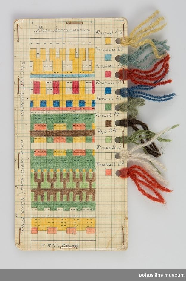 """Avlång handtillverkad mönsterritning för mönstret Blomsterrabatten av Anna-Lisa Mannheimer Lunn från Bohus Stickning. Mönstret är uppritat i bläck och färglagd med pastell- eller vaxkrita på blårutat millimeterpapper, uppklistrat på linneväv och därefter pappkartong. Mönstret skyddas av ett plastskikt fästat med häftklamrar. Utmed högersidan hål gjorda med hålslag med mönstrets olika garner fästade med uppgift om kvalitet/sort och färgnummer. Stämplat BOHUS STICKNING på baksidan.  Mönstret ingår i en gåva efter Karin Forsberg på Bohus Malmön. Hon var ombud för Bohus stickning på Bohus Malmön under många år och är en av dem som undertecknat det tackbrev som publiceras på s. 84 i nytrycket av Ulla Häglunds bok Bohus stickning. I gåvan ingår  11 mönsterritningar med garnprover, kartongblad med mönsterbeskrivningar, följesedelsblock, mössa """"Gröna ängen"""" samt arkivmaterial, bl a fotografier.   Litteratur: Häglund, Ulla med bidrag av Ingrid Mesterton. Bohus Stickning. Bohusläns museums förlag 1999. Keele, W. Poems of Color. Knitting in the Bohus Tradition. And the women who drove this Swedish cottage industry. Interweave press 1995."""