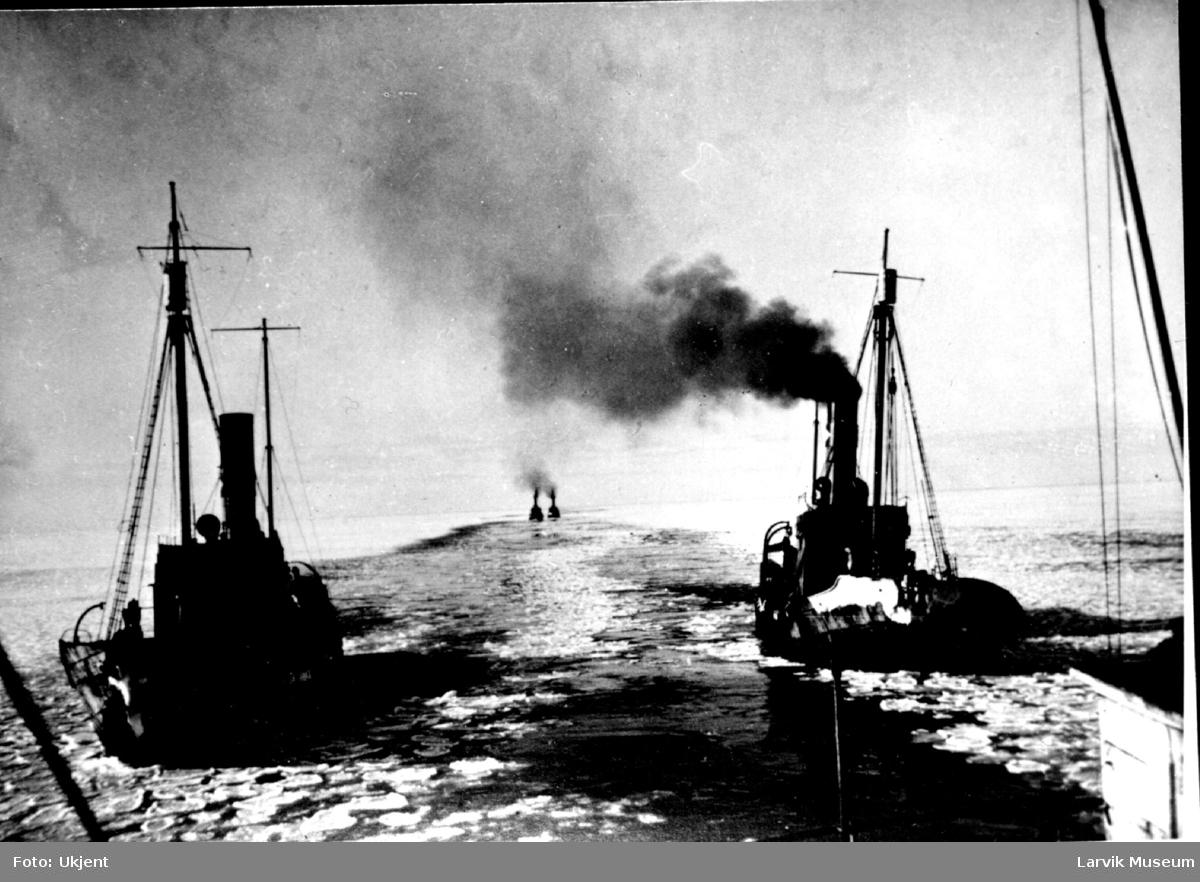 Hvalbåter i isen