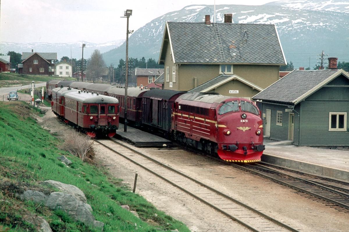 Togene 372 (Røros - Hamar) og 301 (Oslo Ø - Trondheim) krysser.