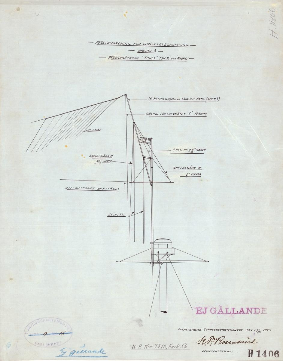 Mastanordning för gnisttelegrafering