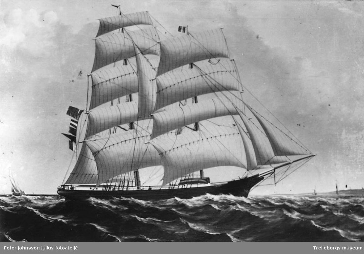 Foto av målning föreställande ett segelfartyg. Enligt Johnsons sittningsbok: Arvid Pålsson kopior. Negativ Johnson 4870.