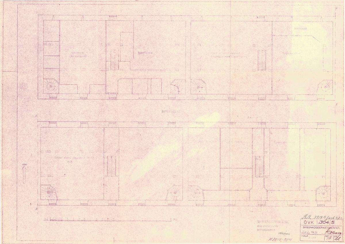 Inventariekammare nr 1, Karlskrona Fasad-, sektions- och relationsritningar 3 st. a,b,c.