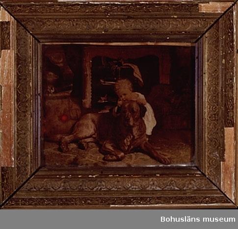 Ur handskrivna katalogen 1957-1958: Två st. glasmålningar a)  Mått (utom ramen): 9,8 x 12 cm. Interiörbild m. hund o barn. Förgylld ram. Ramen ngt defekt. b) Mått: 11,7 x 7,2 cm. Interiörbild m. brudpar. Förgylld ram.  Lappkatalog: