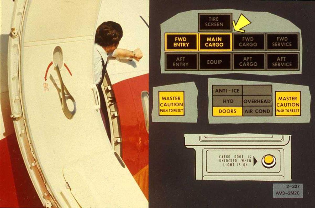 Tegning av instrumentpanel på en fly, en person som står i døren på flyet, Boeing 737-200.