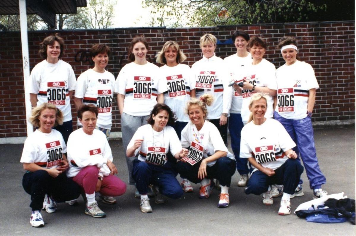 Landskap. Damelaget til Braathens bedriftsidrettslag som deltok i Holmenkollstafetten 1992