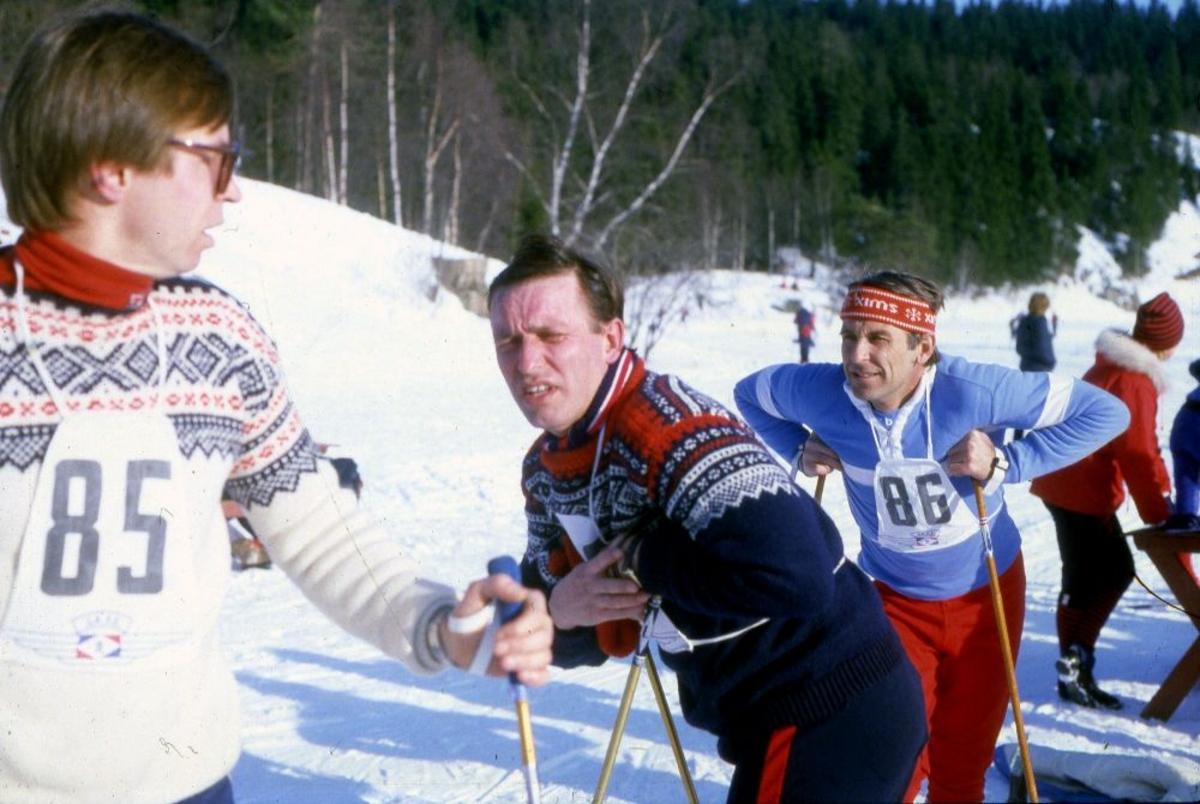 Landskap. Flere personer (skiløpere) fra Braathens SAFE`s bedriftsidrettslag klare til start.