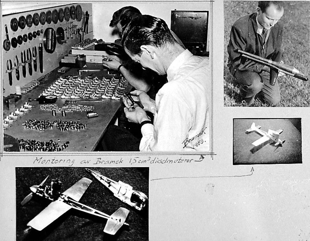 Fra album. 4 foto av modellfly med div. utstyr. Noen personer.