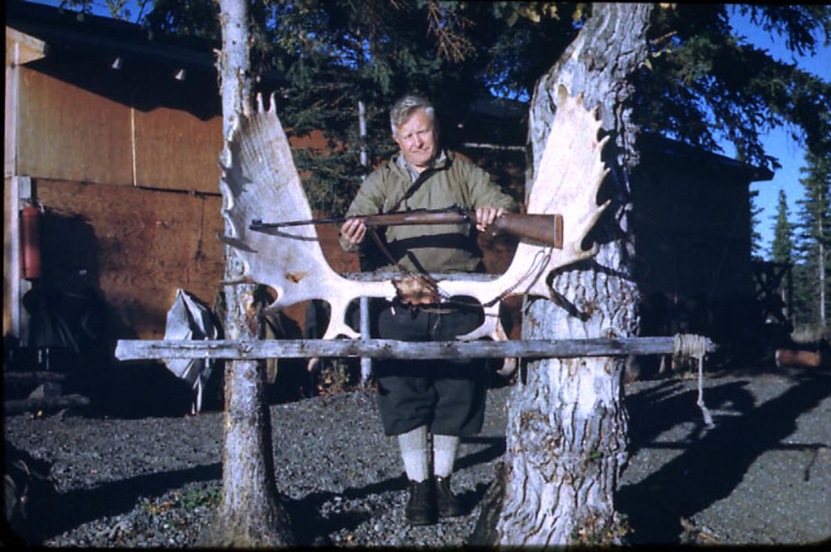 Portrett, 1 person med jaktutstyr - gevær i armene. Stort elggevir henger mellom 2 trær. Bygning bak (hytte?).