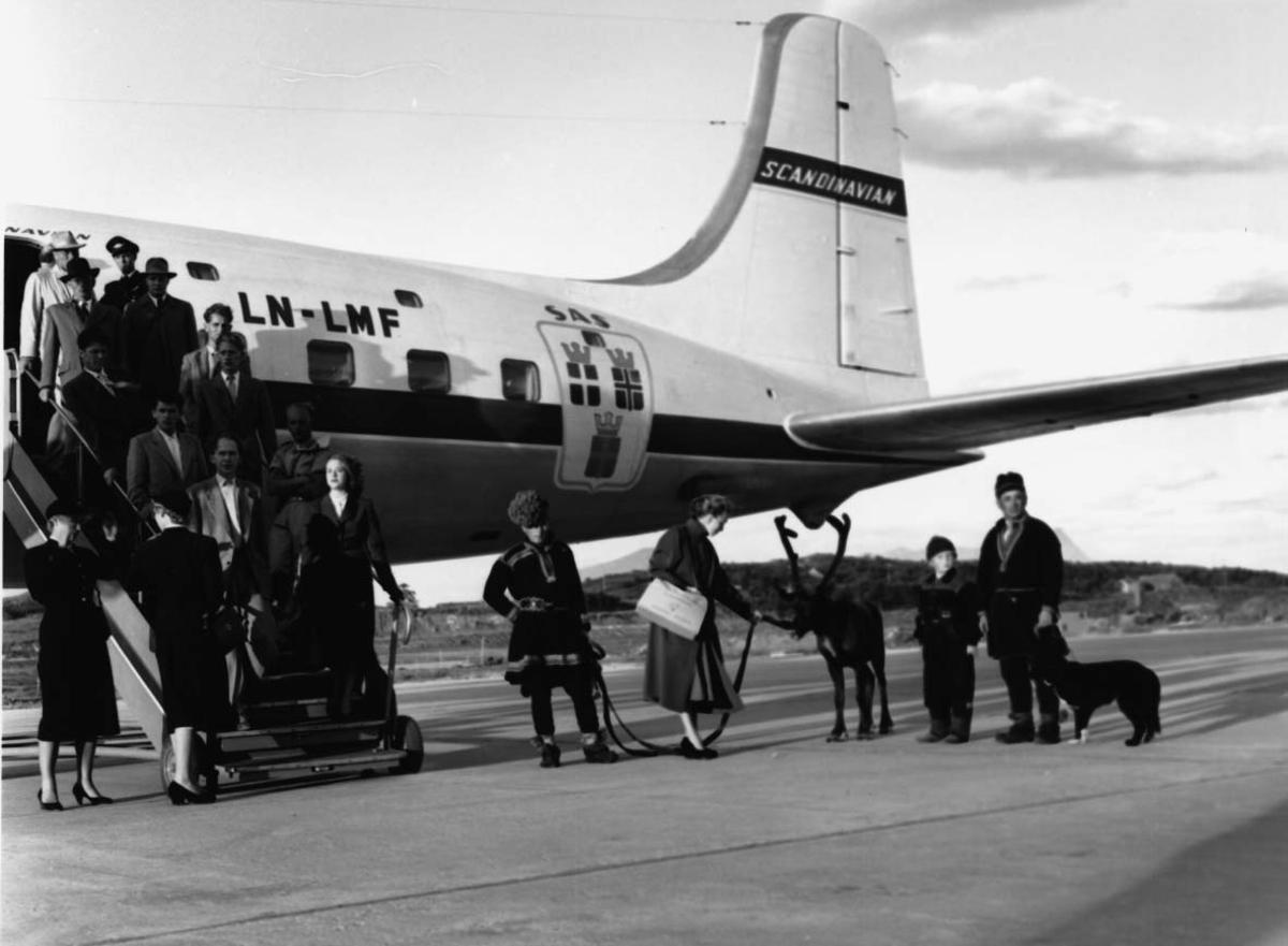 """Lufthavn, 1 fly på bakken DC-6B, LN-LMF """"Agne Viking"""" fra SAS. Flere personer ved flyet."""