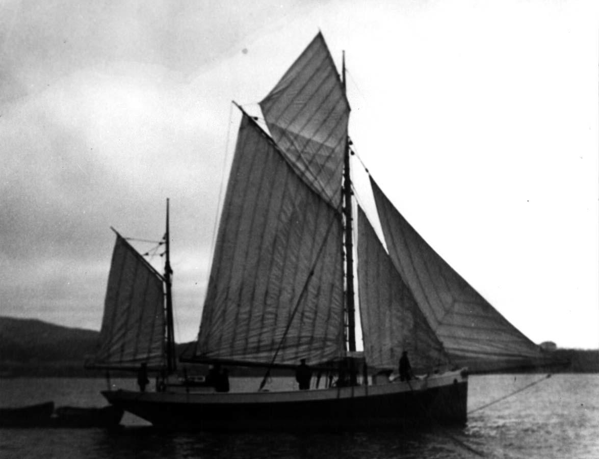 Fiskefartøy for fulle seil.