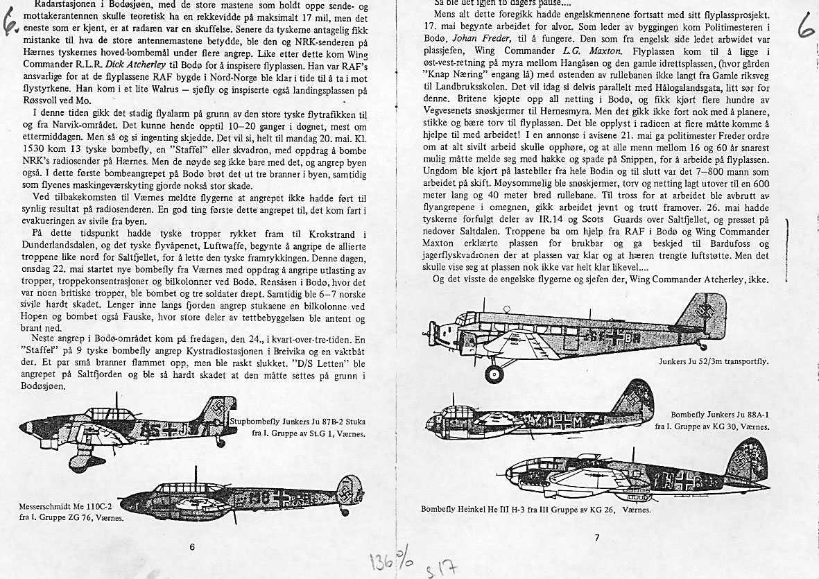 Modelltegning av tyske fly som opererte mot Bodø i mai 1940.